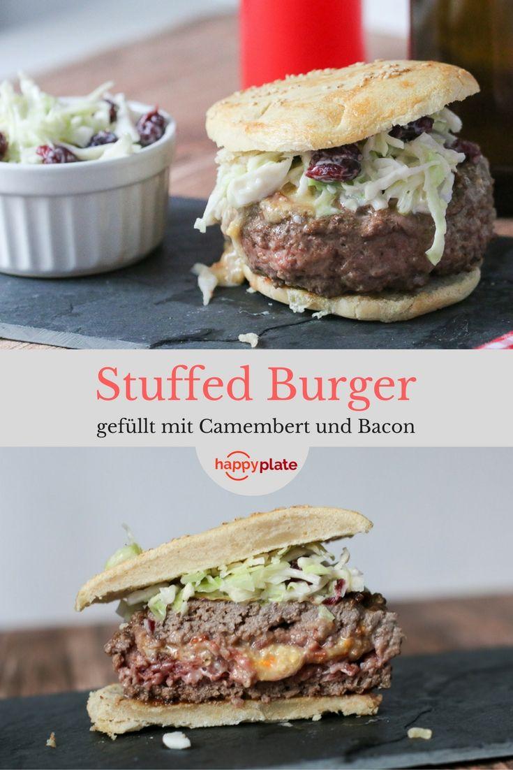 Schmackhafter gefüllter Burger (Stuffed Burger) mit Camanbert und Bacon. Dazu ein köstlicher Cole Slaw mit Cranberries. Das Rezept lässt sich einfach zu Hausze zubereiten.