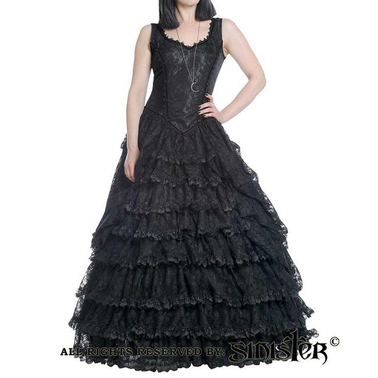 Sinister. Een zwarte gothic lange jurk gemaakt van fluweel en taffeta. De jurk heeft een mooie neklijn van brokaat. Op de voorkant van de jurk zitten zwarte roosjes aan beide kanten. De rok van deze jurk heeft vele lagen waardoor de jurk een volle look krijgt.
