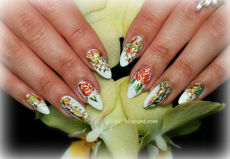 Transfer foil, roses,  nail art, nail design