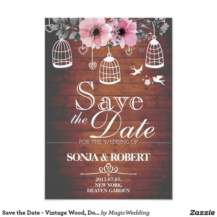 Save the Date - Vintage Wood, Doves, Cage, Flowers Card