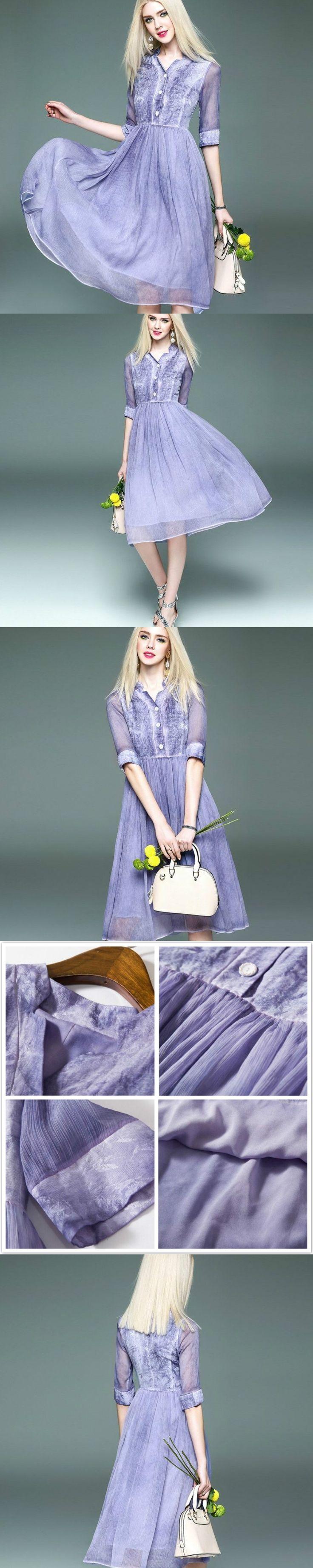 Lavender Shirt Dress Half Sleeve Elegant Vestido Mujer Silk Linen Patchwork Ladies Dress Chiffon Robe Longue Women Clothing 2017