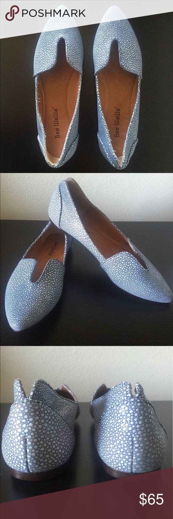 Gee Wawa Lydia Cutout Flats Like new Gee Wawa blue and white flats from Anthropologie. Leather. Excellent condition. Anthropologie Shoes Flats & Loafers