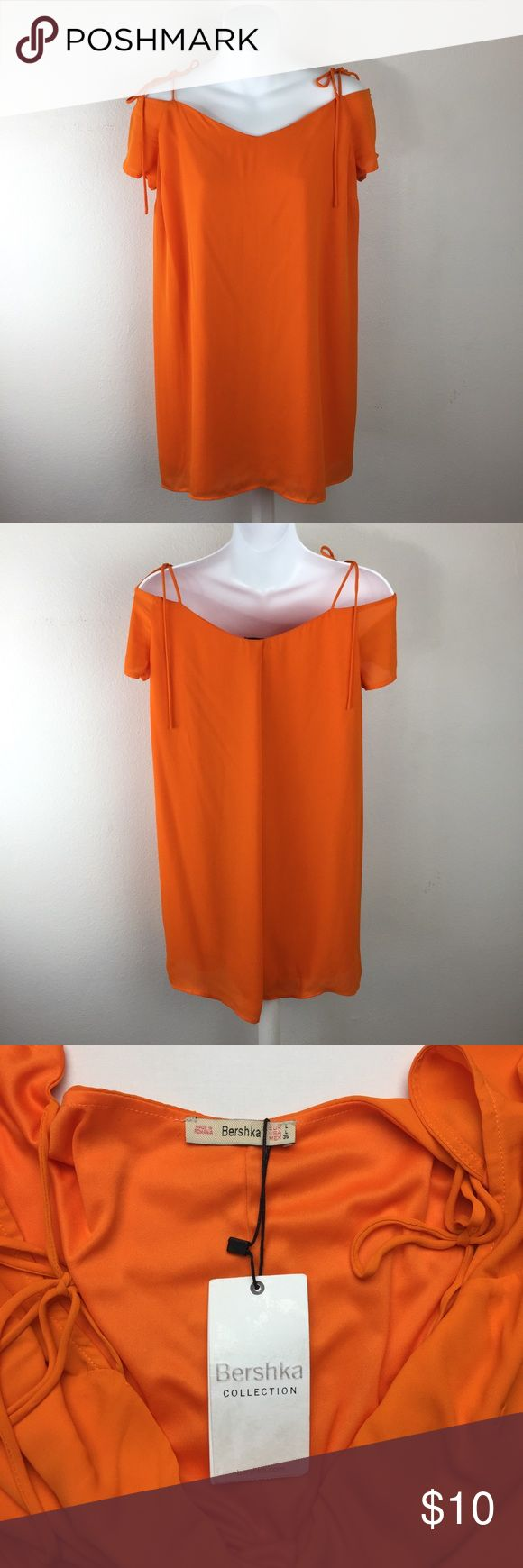Bershka Tunic/Dress Bershka Collection Large Tunic/Dress Off/Cold Shoulder Orange tie Bershka Dresses Midi