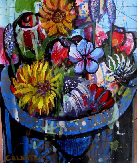 Paintings - WATERING CAN WITH AN ASSORTMENT OF FLOWERS - AN ORIGINAL PAINTING BY CELESTE FOURIE-WIID for sale in Hermanus (ID:257972484)