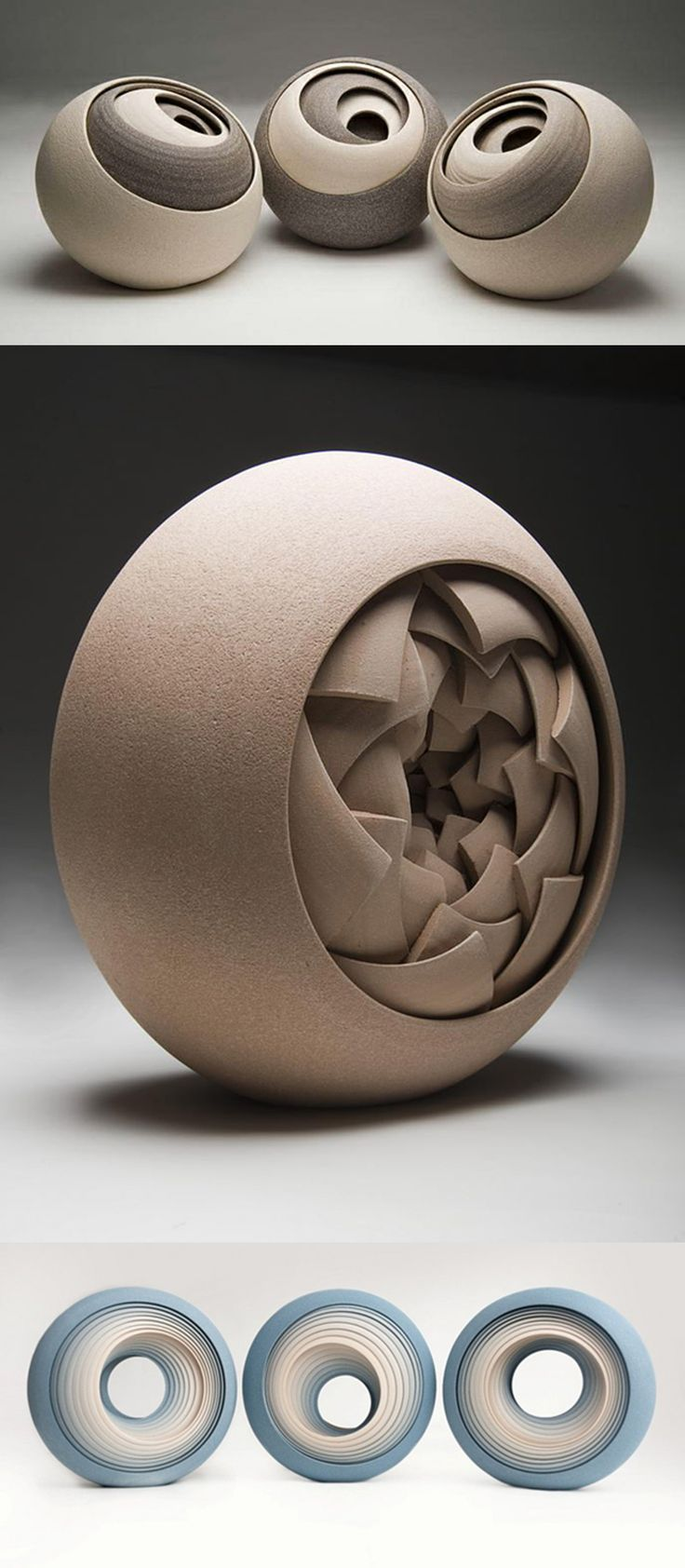 Contemporary Ceramic Sculptures by Matthew Chambers. His works were born of a love for geometric shapes and constructivists, combined with the earthy tones of the ceramic. Each piece is constructed from multiple concentric layers that form circular objects. #FredericClad