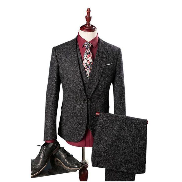 Men suits British style fashion Single button wool suit high quality Jacket Vest Pants