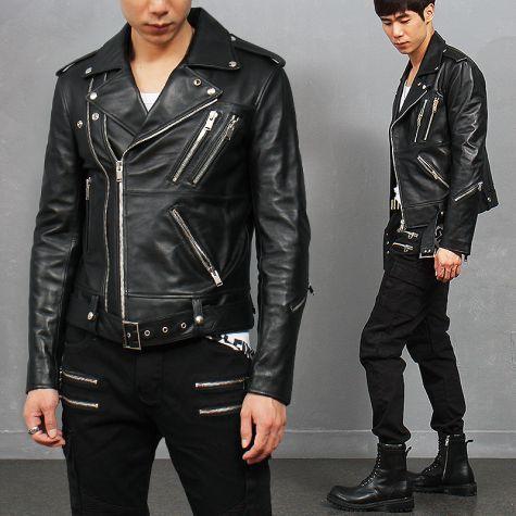 Diagonal Double Zipper Notched Lapel Collar Lambskin Leather Rider Jacket