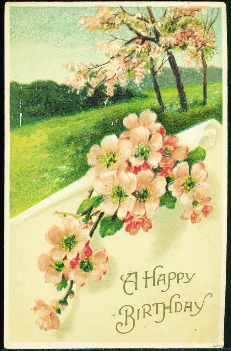 a happy birthday cherry blossoms spring scene vintage