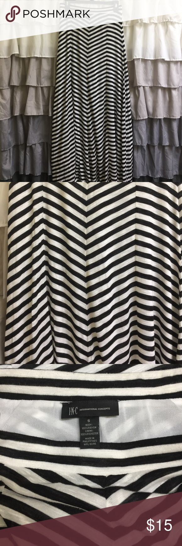 Amazing Chevron Maxi Black and white chevron Maxi skirt with lining. Beautiful! INC International Concepts Skirts Maxi