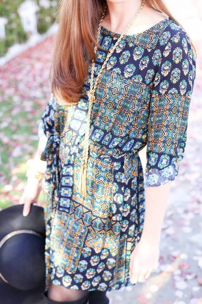 Styling a Pretty Patterned Dress from the November Magnolia Post Co Collection, The Perfect Pattern for Fall!