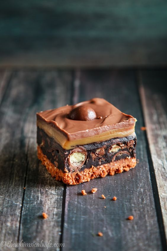 Salted Caramel No Bake Slice 19 Maltesers Recipes to Knock Your Socks Off | Via Stay at Home Mum.com