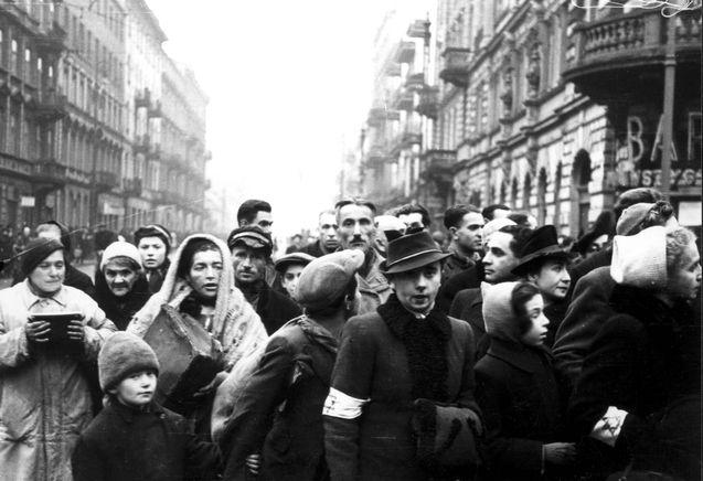 Warsaw, Poland, Jews in a ghetto street.