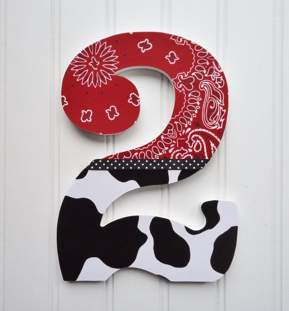 Items similar to Birthday Photo Prop, Wooden Number, First Birthday, Second Birthday, Third Birthday, Number 2, Red Bandanna and Cow Print. on Etsy