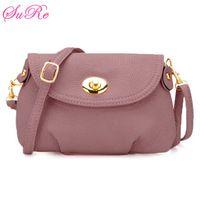 Women's Casual Solid Color Twist-Lock Design Crossbody Bag
