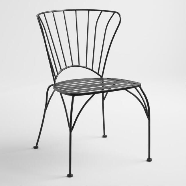 Black Metal Cadiz Stacking Chairs Set of 2 - v1