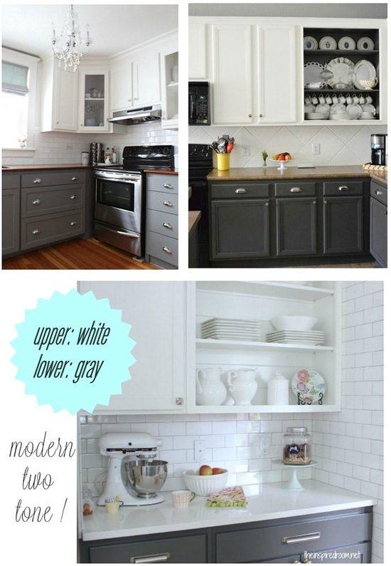 Upper White Lower Gray Kitchen Cabinet Paint Home Design Ideas House Pinterest Mom Gray
