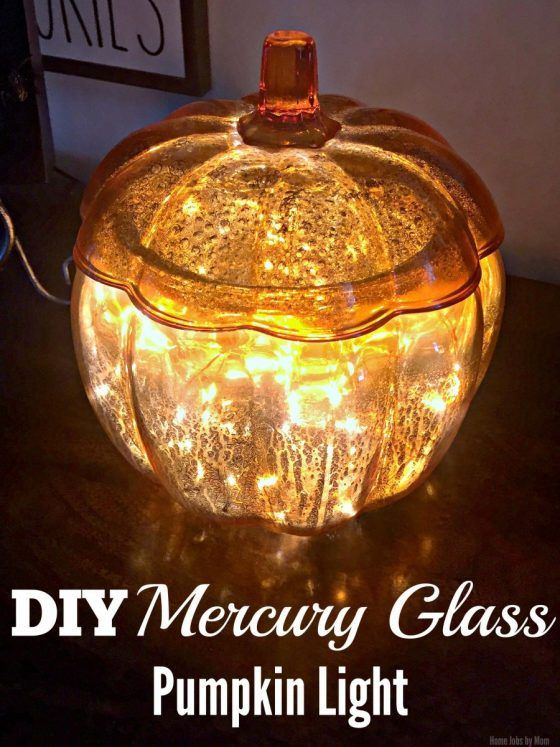 DIY Mercury Glass Pumpkin Light #LTKholidayathome:http://www.homejobsbymom.com/diy-mercury-glass-pumpkin-light/