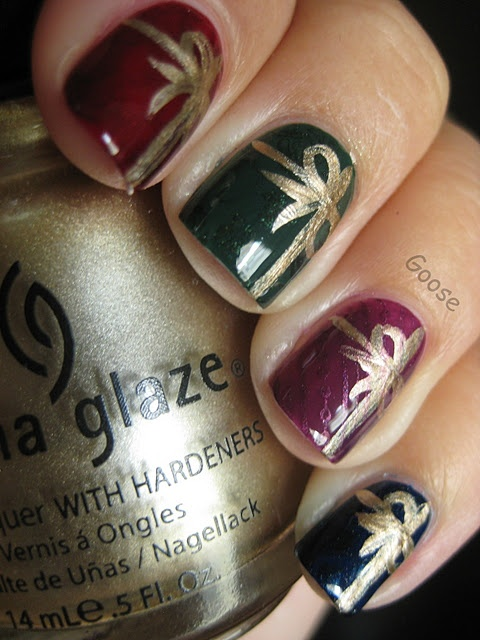 Gifts:  dark polish with ribbon using gold Sharpie marker!