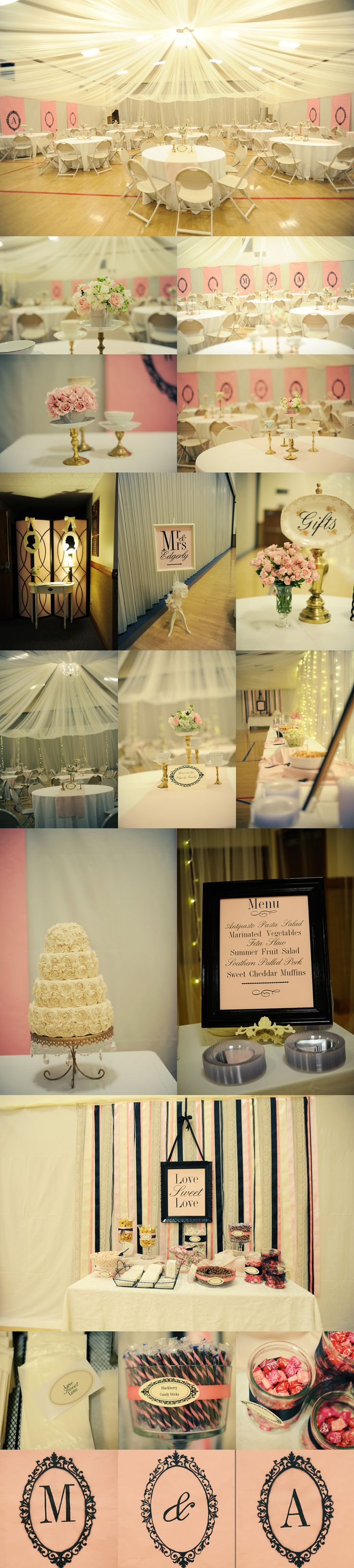 lds cultural hall transformed for a wedding reception - such cute black, white, pink & gold details