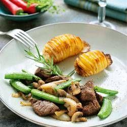Biefstuk teriyaki met champignons & peultjes