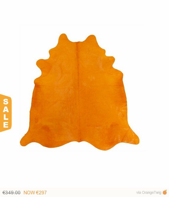 Super Sale Cowhide Carpet Rug Coral Orange Carrot colour OR-963 Dyed