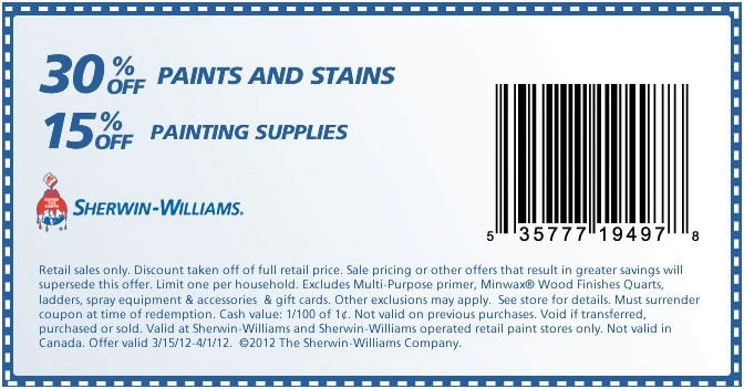 Discount coupons for sherwin williams paint