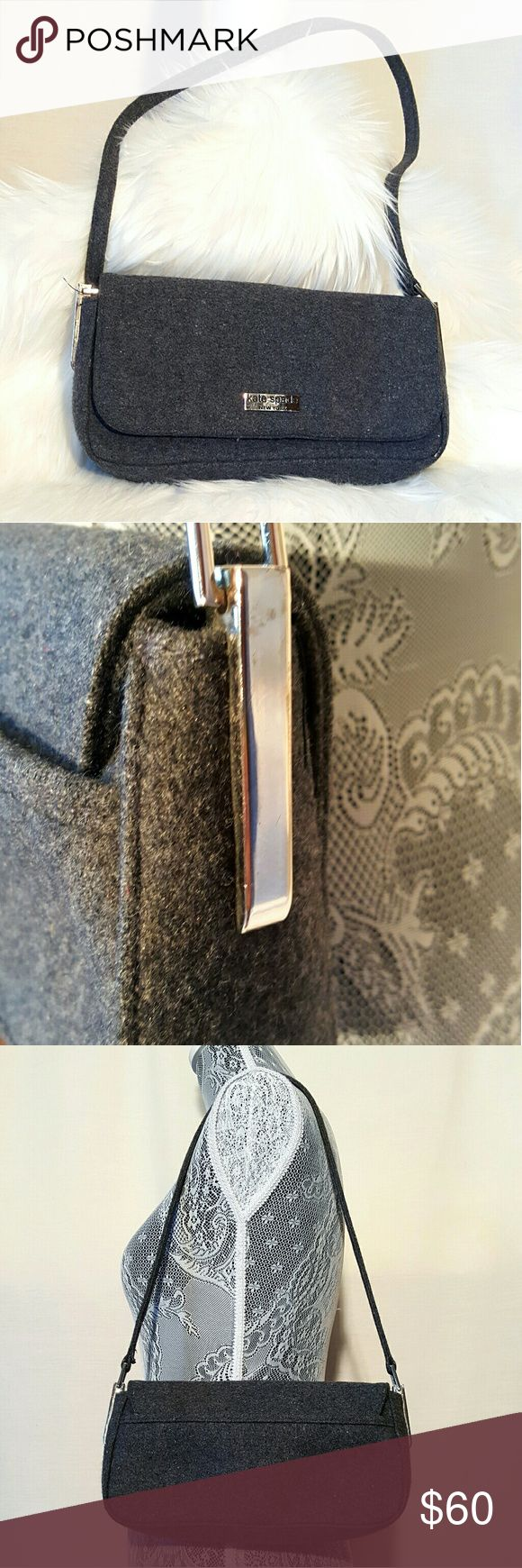 Kate Spade wool felt grey shoulder bag purse Kate Spade wool felt grey shoulder bag purse, excellent condition, no wear observed, magnetic closure, outside slot, inside zipped section  Measurements are approximate  Shoulder strap drop 12 inches 10 inches wide x 5 inches high x 2 inches wide kate spade Bags Shoulder Bags