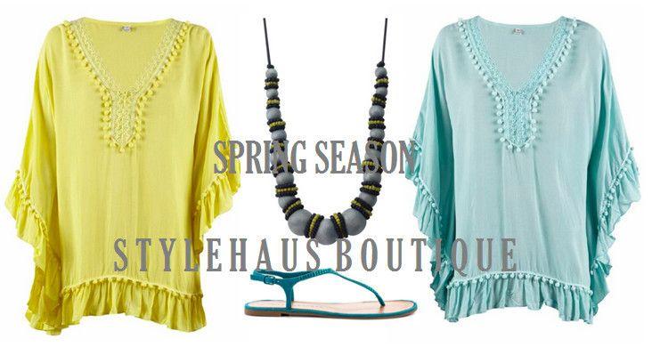 Pom Pom lemon or sky blue kaftan for a boho look. - Stylehaus Boutique, Clothing Retailers, Mile End, SA, 5031 - TrueLocal