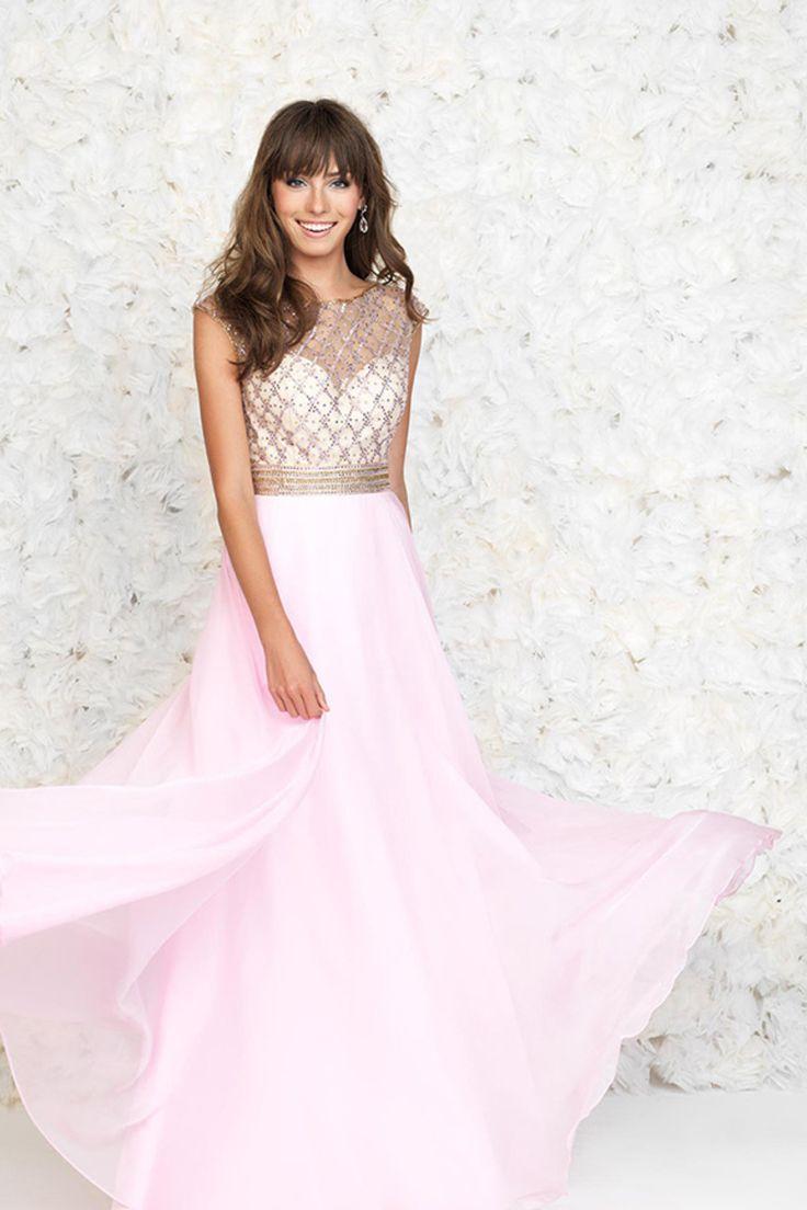 2015 Bateau A-Line Floor-Length Prom Dresses With Beaded Tulle Bodice Sweep Train Chiffon