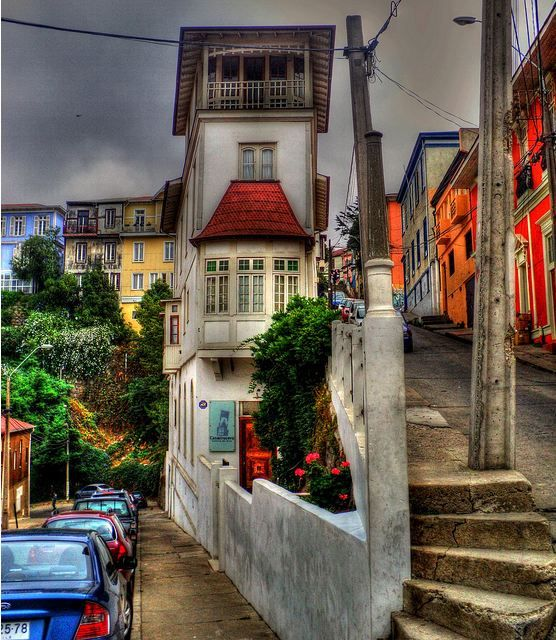 Chile. Corner house in Valparaiso.