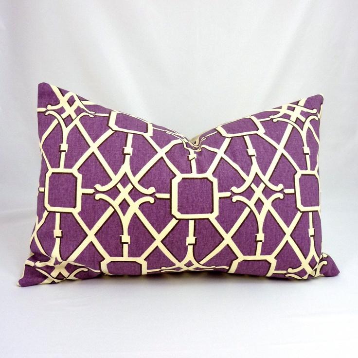 designer lumbar pillow cover in network plum 12x18 inch offwhite cream
