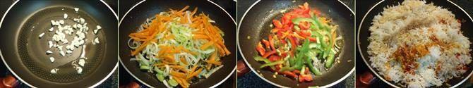 singapore fried rice recipe - spicy singapore veg fried rice