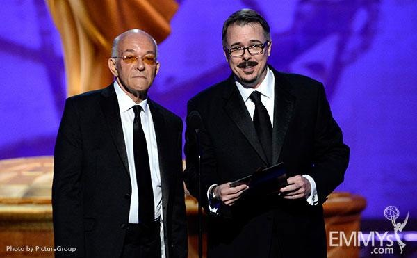 (L-R) Mark Margolis and Vince Gilligan presenting onstage at the Academy of Television Arts and Sciences 2012 Primetime Creative Arts Emmy Awards at the Nokia Theater L.A. Live.