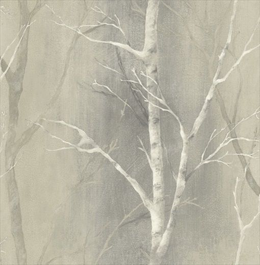 white birch trees on greyish beige background by wallquest