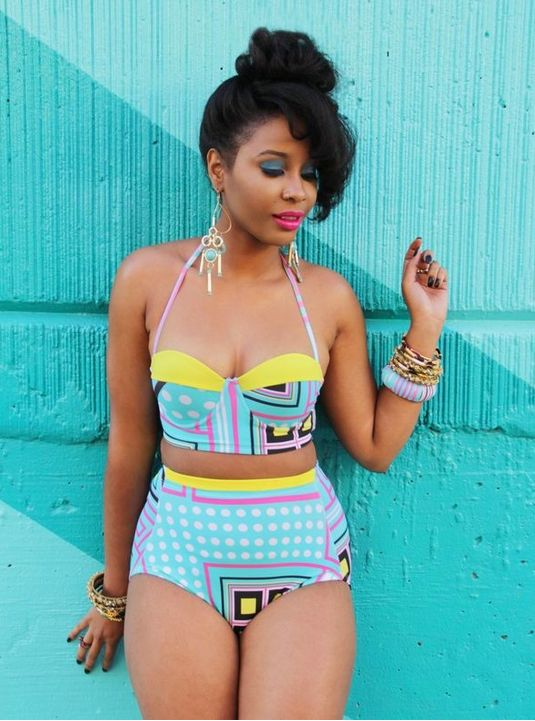~African Prints, African women dresses, African fashion multicoloured print high waisted bikini styles, African clothing, Nigerian style, Ghanaian fashion
