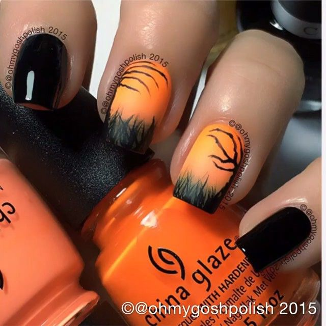 Quickie IG  Tutorial for my Spooky Zombie/Skeleton Hands/Spooky Trees mani. YouTube video is slightly delayed because I upgraded my Mac to El Capitan and now I'm fighting with iMovie 9. I don't use iMovie 10 cause they didn't make it as easy as iMovie 9. Why do companies have to change stuff all the time!!! #ifitsnotbrokedontfixit !!!! Again  I used #chinaglazeofficial White Out, Lady And The Vamp, Sun of a Peach and Metro Pollen-Tin also @cucciocolour  2AM in Hollywood all from @hbbe...