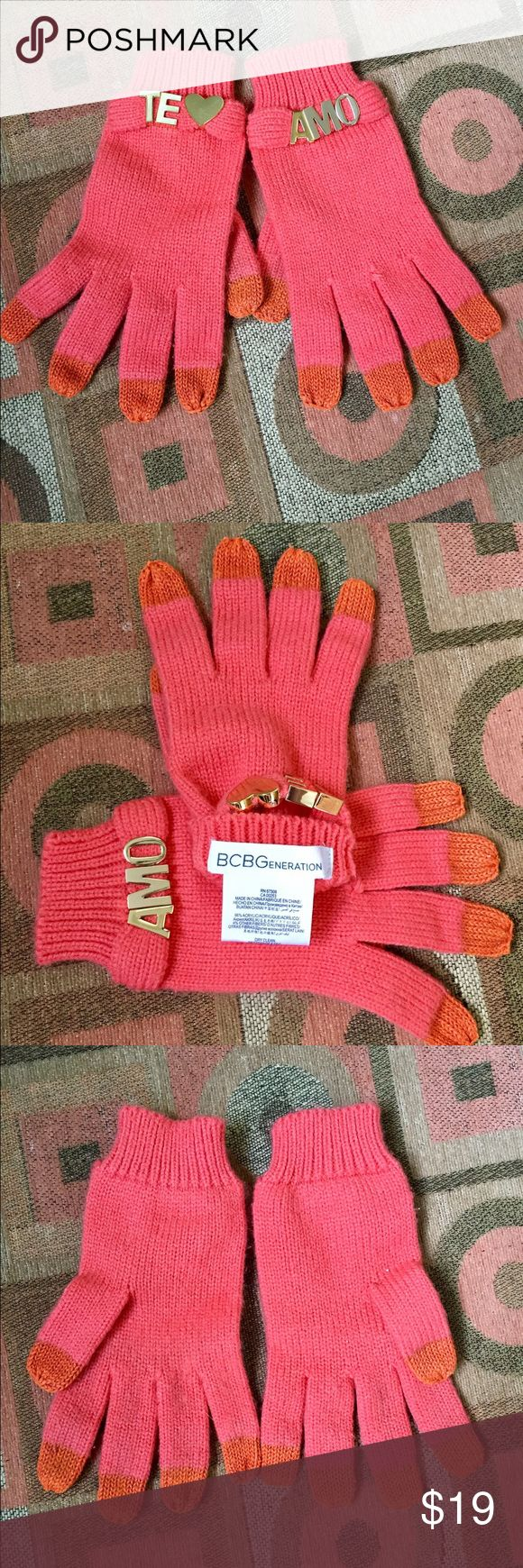 BCBG pink and orange TE AMO gloves ✋ These are like new and maybe worn once or twice BCBG pink and orange gloves✋ with one saying TE❤️ and the other AMO! Super cute must have for cold ❄️ BCBGeneration Accessories Gloves & Mittens