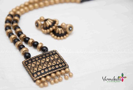 BLACK & GOLD Handmade Terracotta Clay Jewelry A by Varnakala