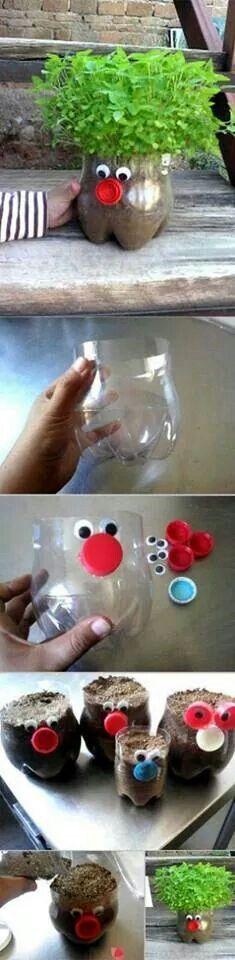 Eine lustige Idee zum Basteln für Kinder - die niedliche Flaschenpflanze.