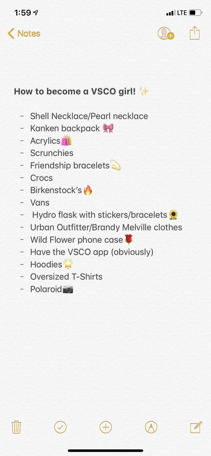 VSCO Girl Checklist!🌻