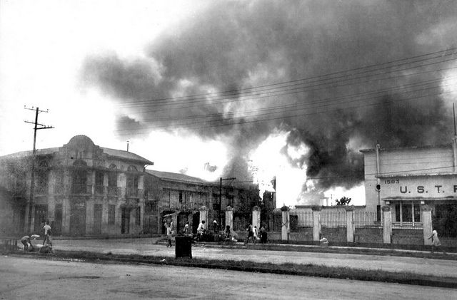 Feb. 7, 1945, Japanese shelling of Santo Tomas, Manila, Philippines, after the Americans liberated it.
