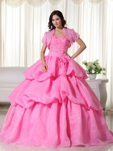 Rose Pink Ball Gown Strapless Quinceanera Dress with Hand Made Flowers
