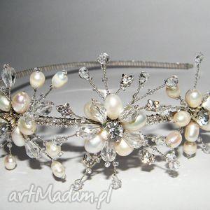 ślub opaska ślubna - perły naturalne, kryształki, opaska, ślub, perły, kryształki
