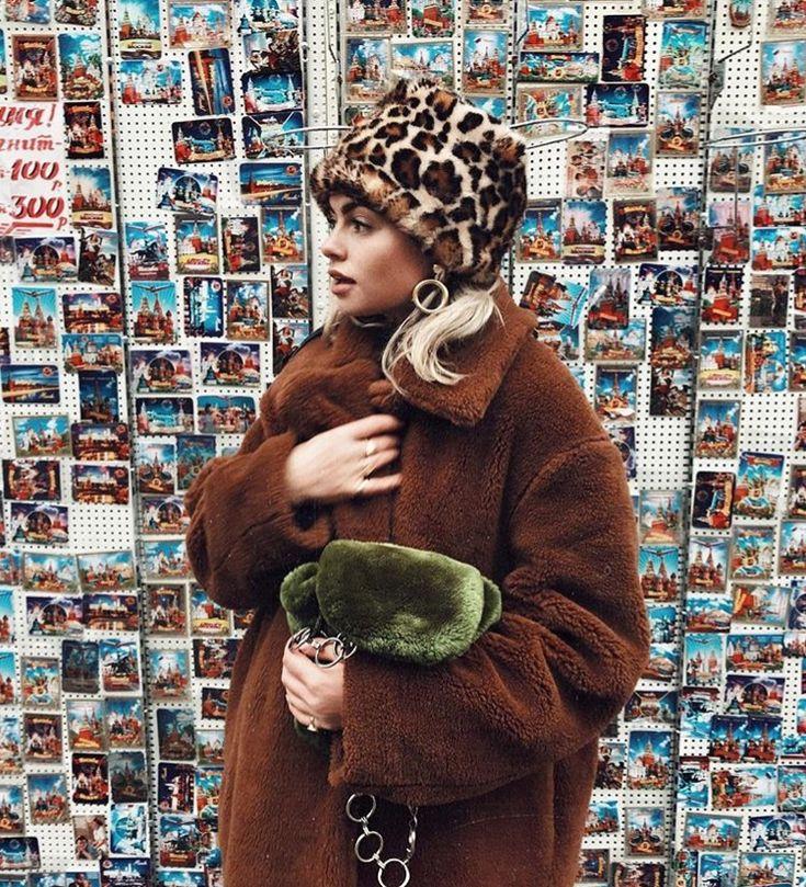 caramel faux fur, leopard cloche + fuzzy clutch... | #grannychic