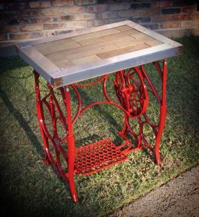 Upcycled Industrial Iron Sewing Machine Side Table - JUNKMARKET Style
