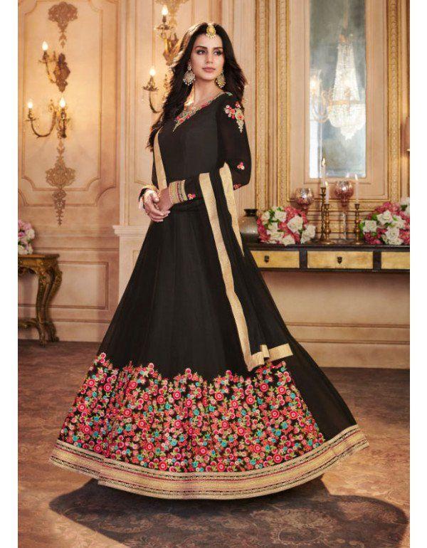 e599f7abaa Magnificent Black Georgette Anarkali Suit in 2019 | Anarkali Dresses ...