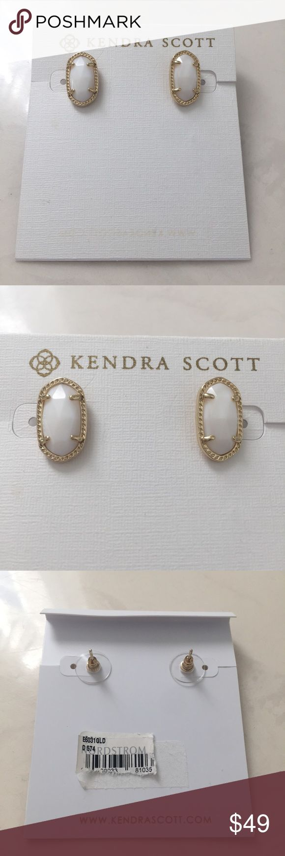 NWT Kendra Scott Ellie Gold & White Pearl Earrings Re-posh and HTF. I love these, but think the Lee earrings would look better on me with the Elisa necklace. No dustbag. Not been tried on, I just put them up to my ear to see how they would look! I did notice the backs are a little bent but it doesn't affect anything  Look closely at the photos to know what exactly you are receiving and the condition that it's in! Smoke/Pet free home. Bundle 2+ of my items to save 15%. I do not trade or hold…