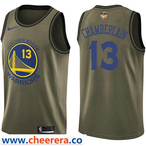 5e028fbbb Nike Warriors  13 Wilt Chamberlain Green Salute to Service The Finals Patch  NBA Swingman Jersey