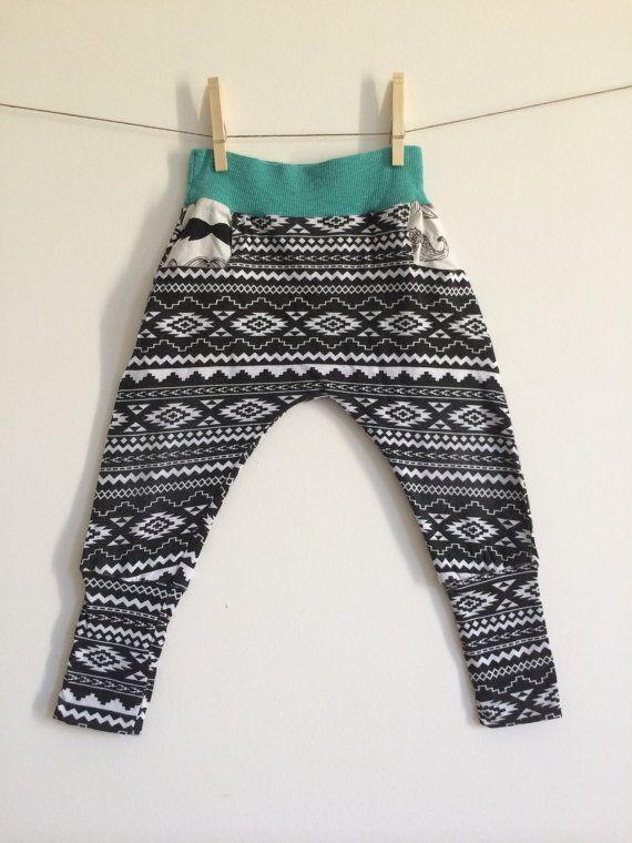 Toddler Kid Boys Harem Pants // Tribal Print Leggings // Ninja Pants // Patterned Leggings // Handmade Kids Leggings