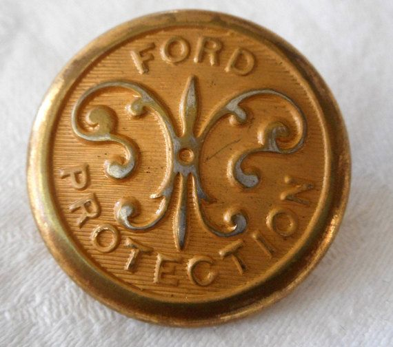 ANTIQUE Gold Metal Ford Protection Security Uniform BUTTON